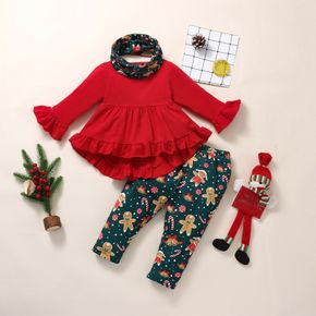 Christmas 3pcs Baby Red Long-sleeve Ruffle Top and All Over Gingerbread Man Print Trousers Set