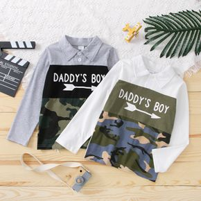 Kid Boy Letter Camouflage Print Colorblock Long-sleeve Polo Shirt