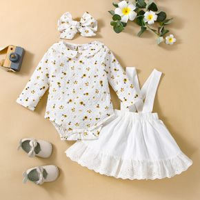 3pcs Baby All Over Floral Print White Cotton Long-sleeve Romper and Ruffle Suspender Skirt Set