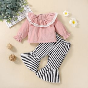 2pcs Baby Solid Ruffle Pom Poms Tassel Long-sleeve Top and Striped Bell Bottom Pants Set