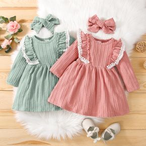 2pcs Baby Ruffle Pom Poms Solid Long-sleeve Cable Knit Dress Set
