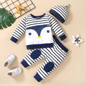 3pcs Baby Cartoon Penguin Pattern Blue Striped Long-sleeve Pullover and Trousers Set