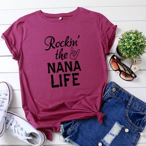 Round collar Letter Positioning print Short Sleeve casual T-shirt