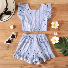 Pretty Kid Girl Striped Heart-shaped Bowknot Flounced Casual Suits