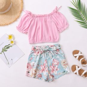 2-piece Kid Girl Ruffle-sleeve Solid Top and Floral Print Shorts with Waistband Set