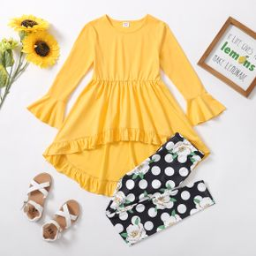2-piece Kid Girl Bell sleeves Ruffled High Low Solid Top and Floral Polka dots Print Leggings Set