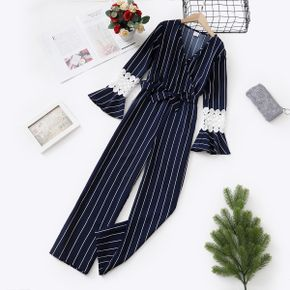 Kid Girl Striped V Neck Lace Decor Bell sleeves Jumpsuit