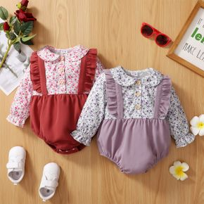 Baby Girl Floral Print Doll Collar Long-sleeve Splicing Solid Ruffle Romper