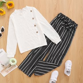 2-piece Kid Girl Ruffle Collar Button Design Long-sleeve White Blouse and Belted Striped Paperbag Pants Casual Set