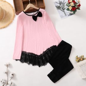 2-piece Kid Girl Bowknot Design Lace Hem Long-sleeve Top and Lace Cuff Black Leggings Set