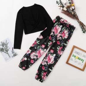 2-piece Kid Girl Twist Knot Long-sleeve Black Tee and Floral Print Bows Pants Set