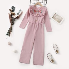 Kid Girl Floral Embroidered Ruffle Button Design Long-sleeve Pink Jumpsuit