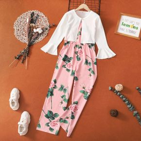 2-piece Kid Girl Floral Print V Neck Sleeveless Jumpsuit and Bell sleeves White Cardigan Set