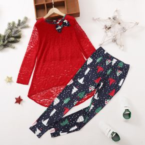 2-piece Kid Girl Christmas Lace Bowknot Design High Low Long-sleeve Red Top and Tree Polka dots Print Leggings Set