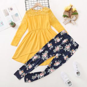 2-piece Kid Girl Lace Design High Low Top and Floral Print Leggings Set