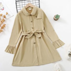 Kid Girl Doll Collar Button Design Belted Khaki Trench Coat