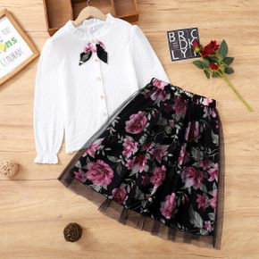 2-piece Kid Girl Bowknot Button Design Frill Collar Long-sleeve White Blouse and Floral Print Mesh Skirt Set