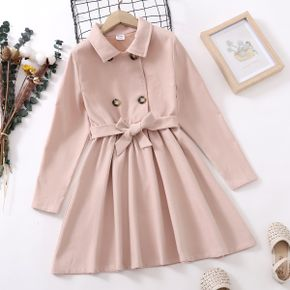 Kid Girl Lapel Collar Double Breasted Belted Trench Coat