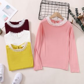 Kid Girl Lace Collar Solid Color Long-sleeve Tee