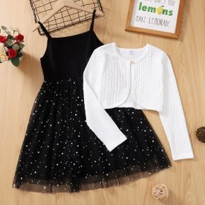 2-piece Kid Girl Stars Glitter Mesh Cami Dress and Cable Knit Textured Jacket Set