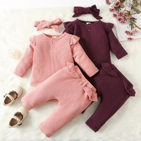 100% Cotton 3pcs Baby Solid Ruffle Long-sleeve Waffle Romper and Trousers Set