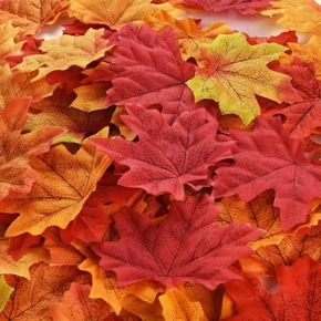 50-pack Thanksgiving Fall Artificial Multicolor Maple Leaves Autumn Leaf Wedding Party Table Decor