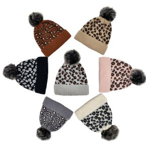 Leopard Print Removable Pompon Decor Knit Beanie Hat for Mom and Me