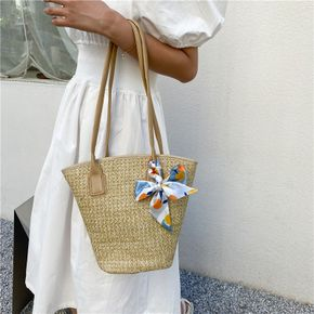 Solid Color Large Capacity Handle One-Shoulder Straw Woven Bags Beach Casual Bags