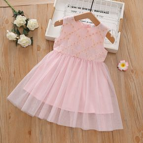 Toddler Girl Floral Embroidered Sleeveless Light Pink Tulle Dress