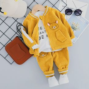 2-piece Toddler Boy/Girl Animal Embroidered Striped Zipper Bomber Jacket and Pants Set