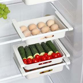 Retractable drawer Type Refrigerator Container Box Egg FoodFruit organizer Storage tray kitchen