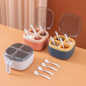 1pc Kitchen Salt Container Seasoning Four Compartment Storage Box Seasoning Spice Rack With Lid Seasoning Can