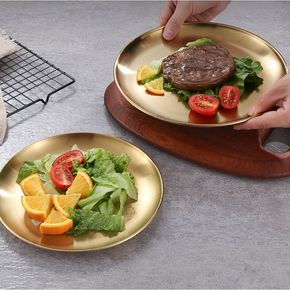 European-style dinner plate stainless steel golden disc tray cake plate kitchen western steak barbecue plate