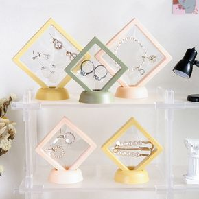 Pe Thin Film Suspension Jewelry Display Box Jewelry Storage Rack Transparent Container Box with base for Ring Necklace Bracelet Earring