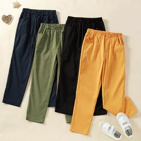 Kid Boy  Casual Elasticized Solid Pants with Pocket