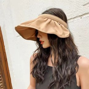 Dual-use Solid Hair Hoop Hat UV Protection Women Foldable Bucket Hat Summer Adult Outdoor Empty Top Sun Hat Multicolor
