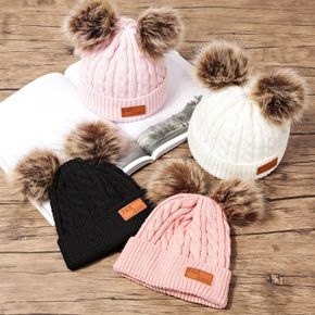Toddler/ Kid Double Pompon Decor Solid Color Knitted Hat
