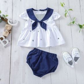 2pcs Naval College Style Short-sleeve Baby Set