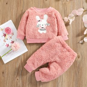 2pcs Baby Cartoon Rabbit Pink Fuzzy Fleece Long-sleeve Pullover and Trousers Set