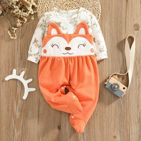 Floral Print Long-sleeve Splicing Cartoon Fox 3D Ears Footed Baby Cotton Jumpsuit