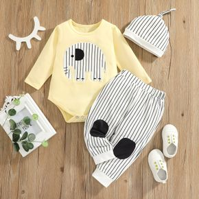 3pcs Baby Cartoon Elephant Embroidered Long-sleeve Romper and Striped Trousers Set