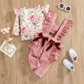 2pcs Baby All Over Floral Print Top and Multi-layered Ruffle Bowknot Overalls Set