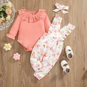 3pcs Baby 100% Cotton Crepe Long-sleeve Ruffle Romper and Floral Print Overalls Set