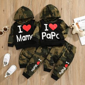 2pcs Baby Letter Print Camouflage Cotton Long-sleeve Hoodie and Trousers Set