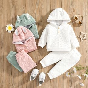 2pcs Baby Solid 3D Rabbit Ears Long-sleeve Hoodie and Trousers Set