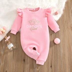 Baby Girl Letter Crown Embroidered Ruffled Long-sleeve Jumpsuit