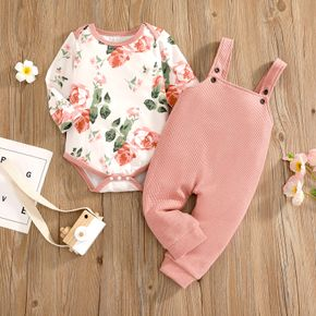 2pcs Baby Girl All Over Floral Print Long-sleeve Romper and Solid Waffle Overalls Set