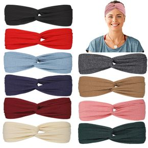 Women Pure Color Twisted Criss Cross Breathable Sweatband Sports Headband for Yoga Outdoor Activities