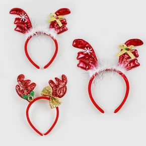 Women Christmas Headband Christmas Red Antler Sequined Headband Hair Accessories for Christmas Party Supplies