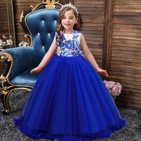 Kid Girl Floral Print Bowknot Decor Backless Princess Party Wedding Tulle Dress Maxi Gown